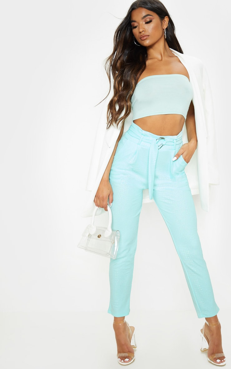 Mint Croc Print D Ring Belted Skinny Trousers 1