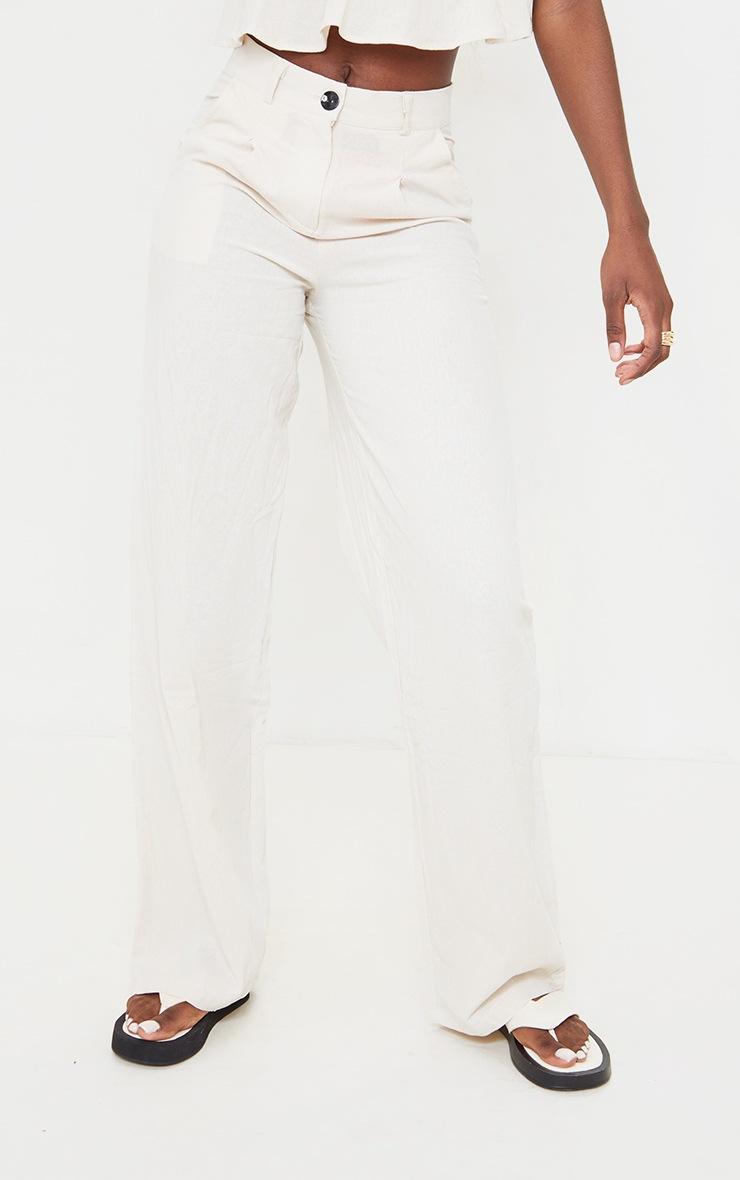 Tall Ecru Lightweight High Waisted Flare Pants 2