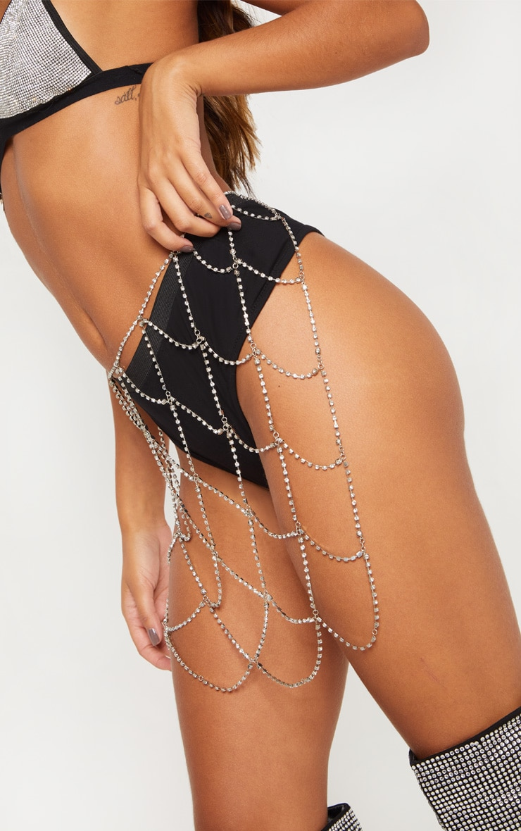 Silver Diamante Body Jewellery Skirt 6