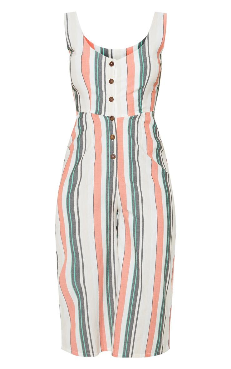 White Stripe Linen Button Detail Jumpsuit 3