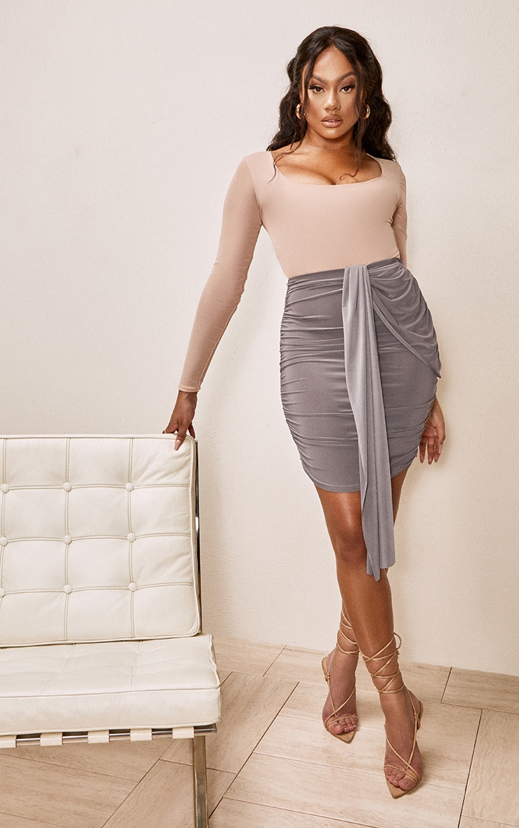 Taupe Slinky Foldover Ruched Mini Skirt 4