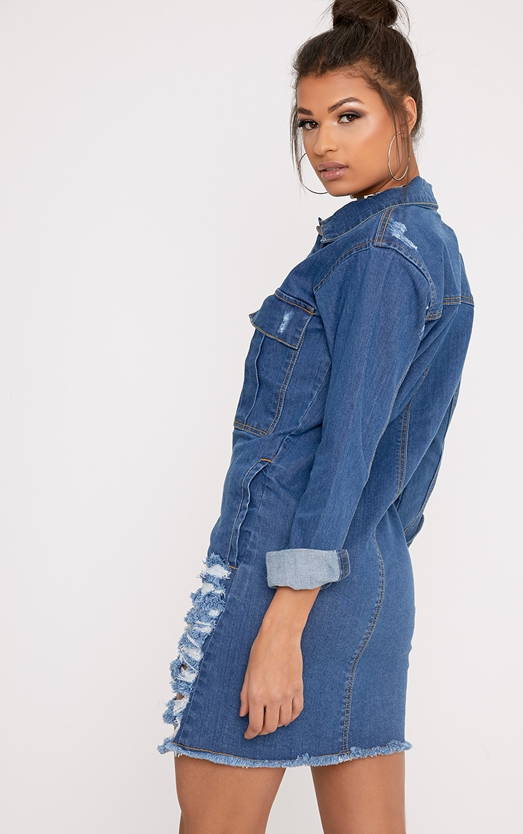Mid Wash Super Distress Denim Shirt Dress 3