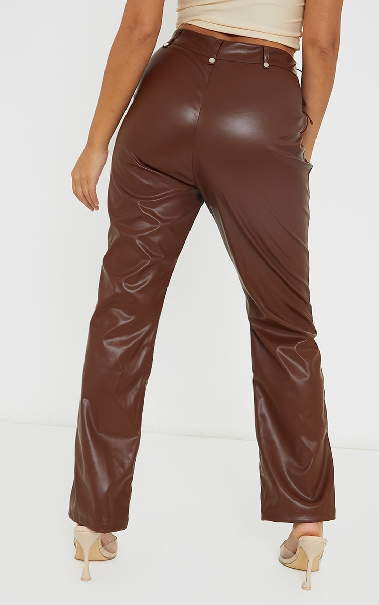 Petite Chocolate Lace Up Faux Leather Pants 3