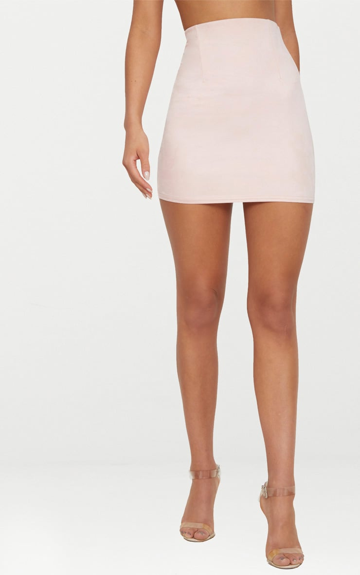 Pink Faux Suede Mini Skirt  2