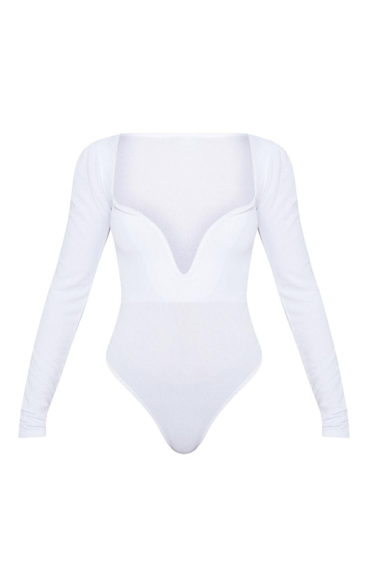 White Long Sleeve Plunge Bodysuit 3