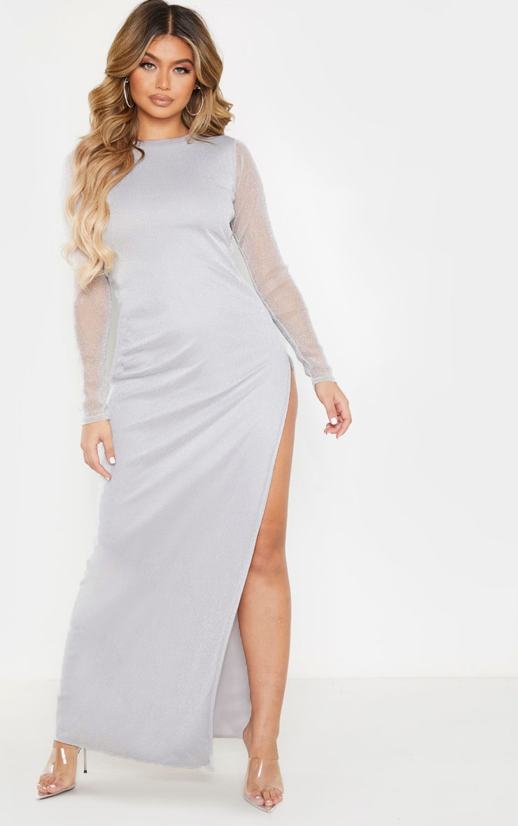 Silver Glitter Backless Long Sleeve Maxi Dress 4