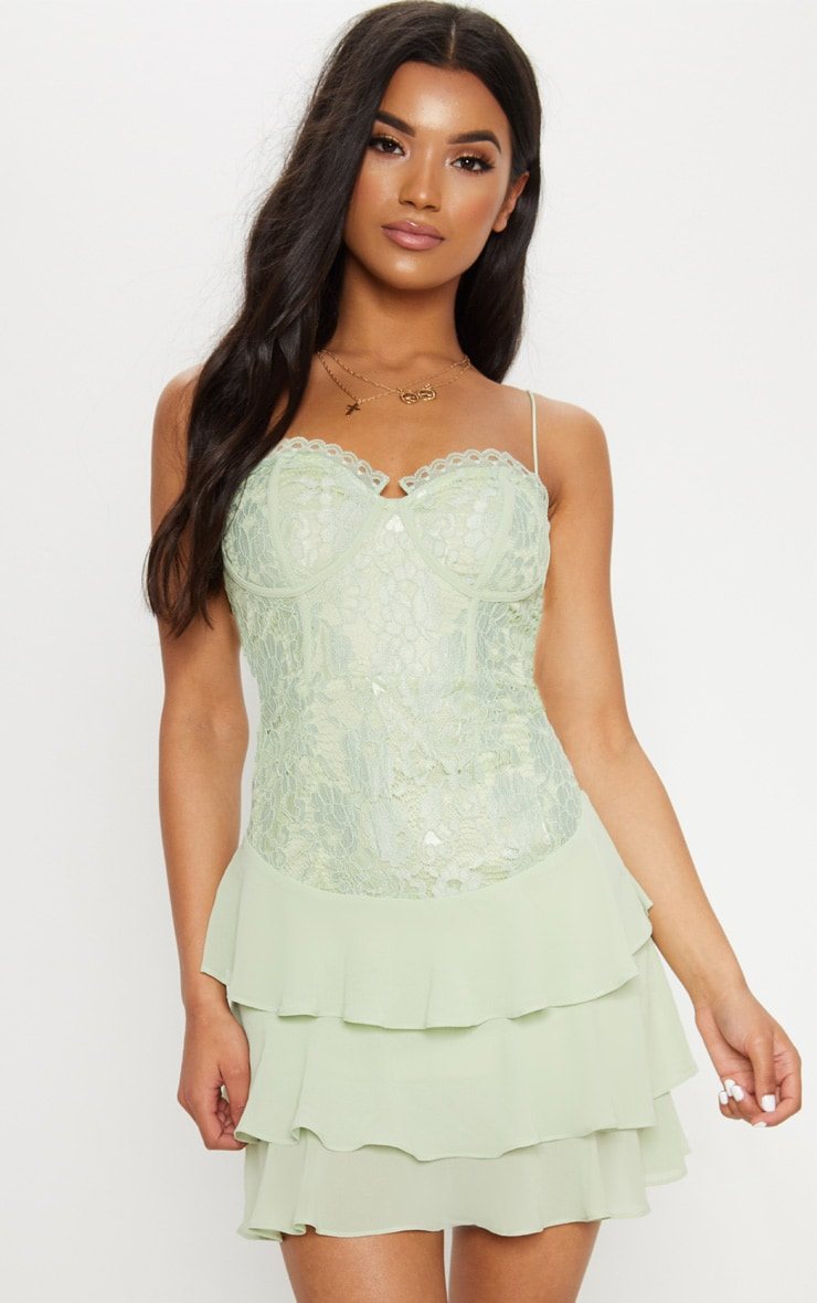 Sage Green Lace Chiffon Tier Skater Dress  4