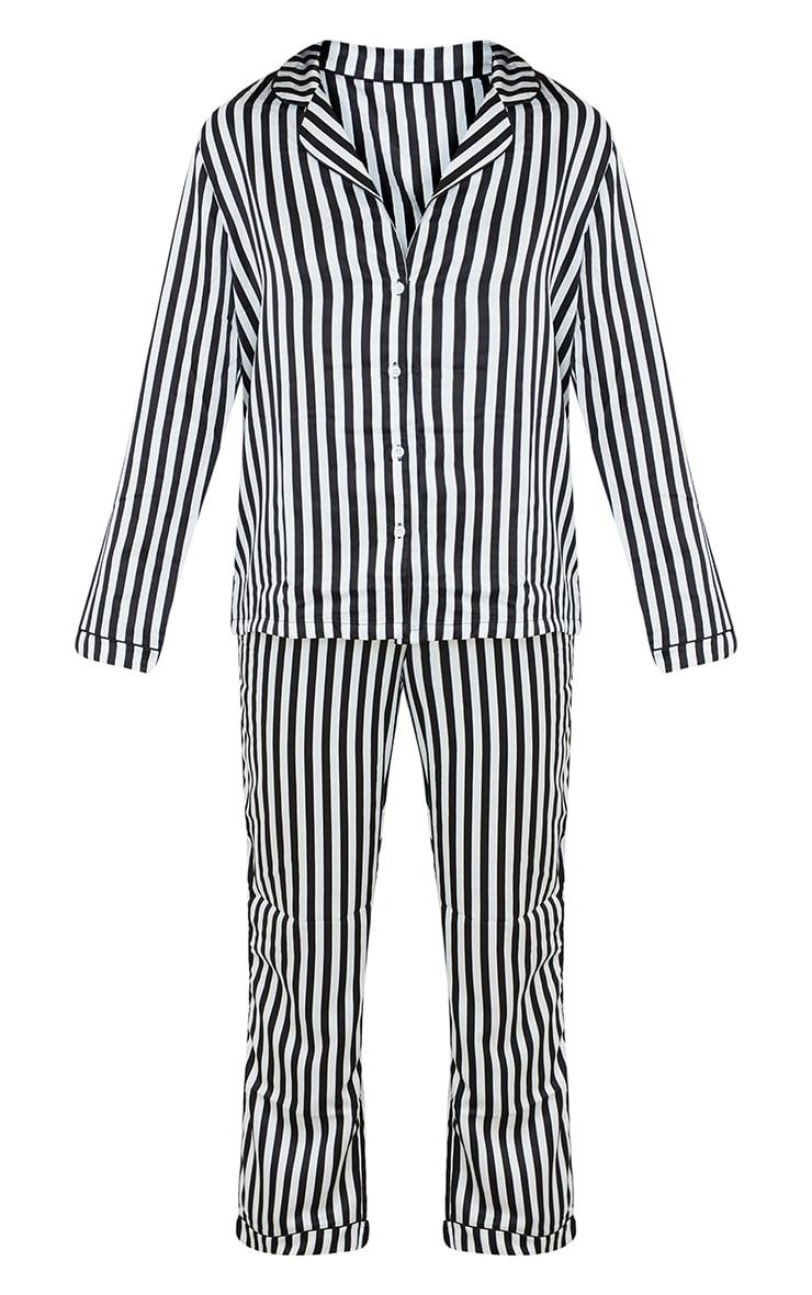 Black Striped Satin Long Sleeve And Pants PJ Set 5