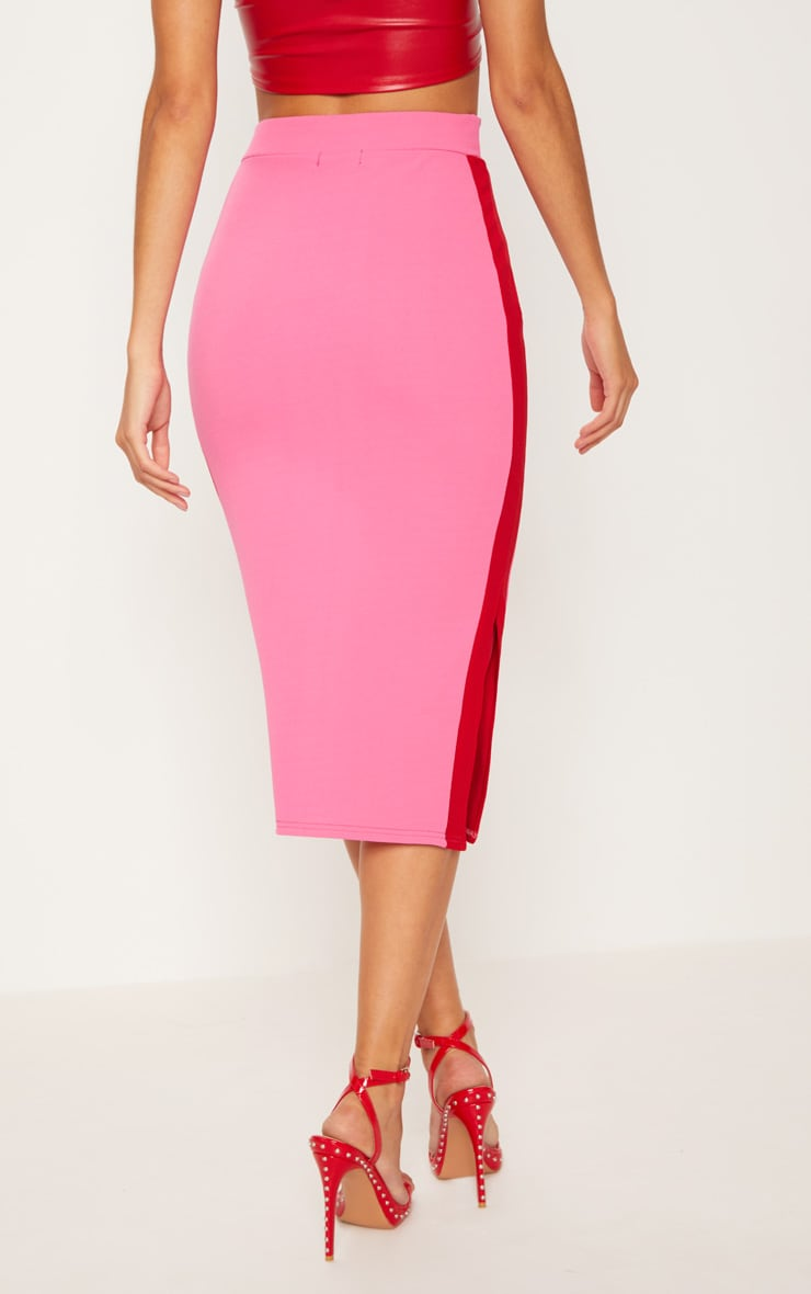 Hot Pink Contrast Side Stripe Split Hem Midi Skirt 4