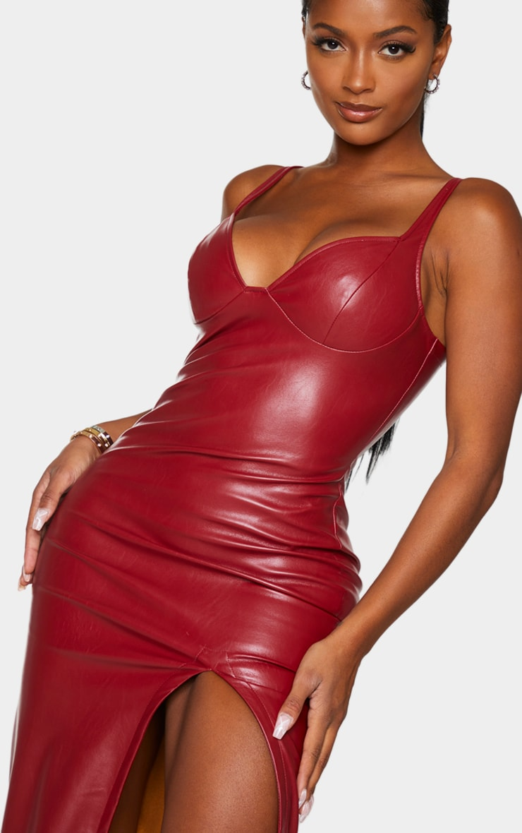 Shape Red PU High Split Maxi Dress 4