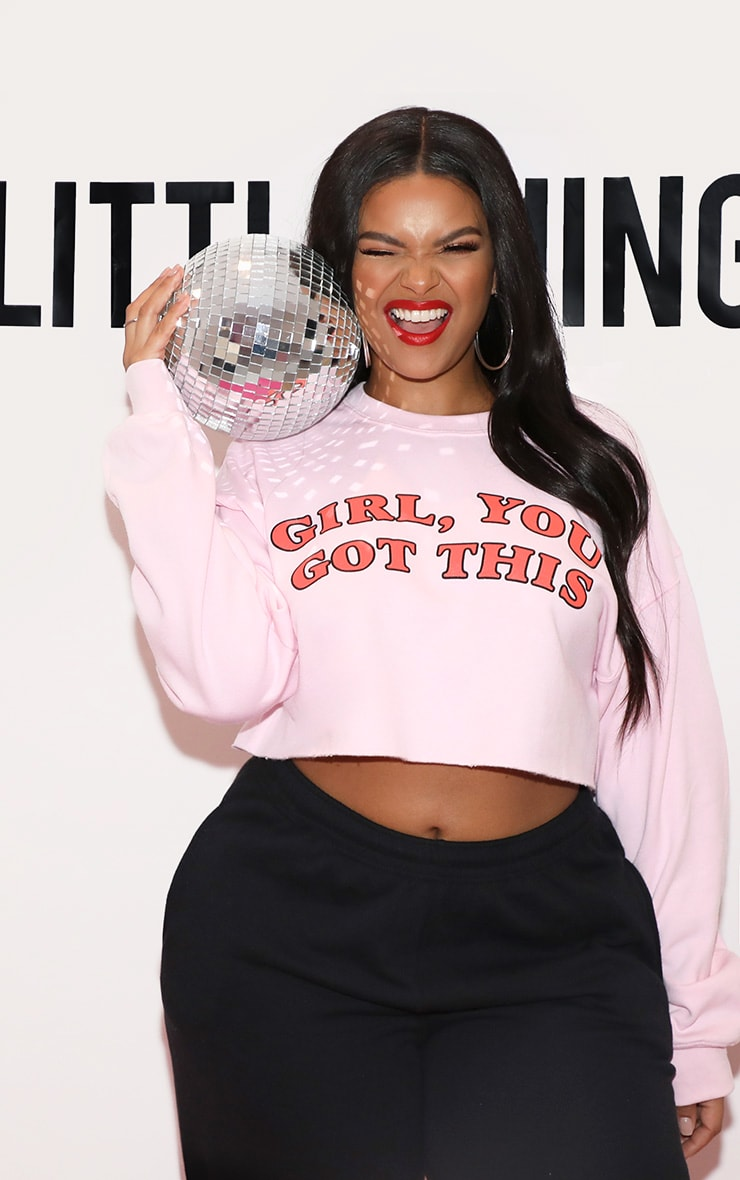 Girl, YOU GOT THIS Cropped Sweater Baby Pink 1