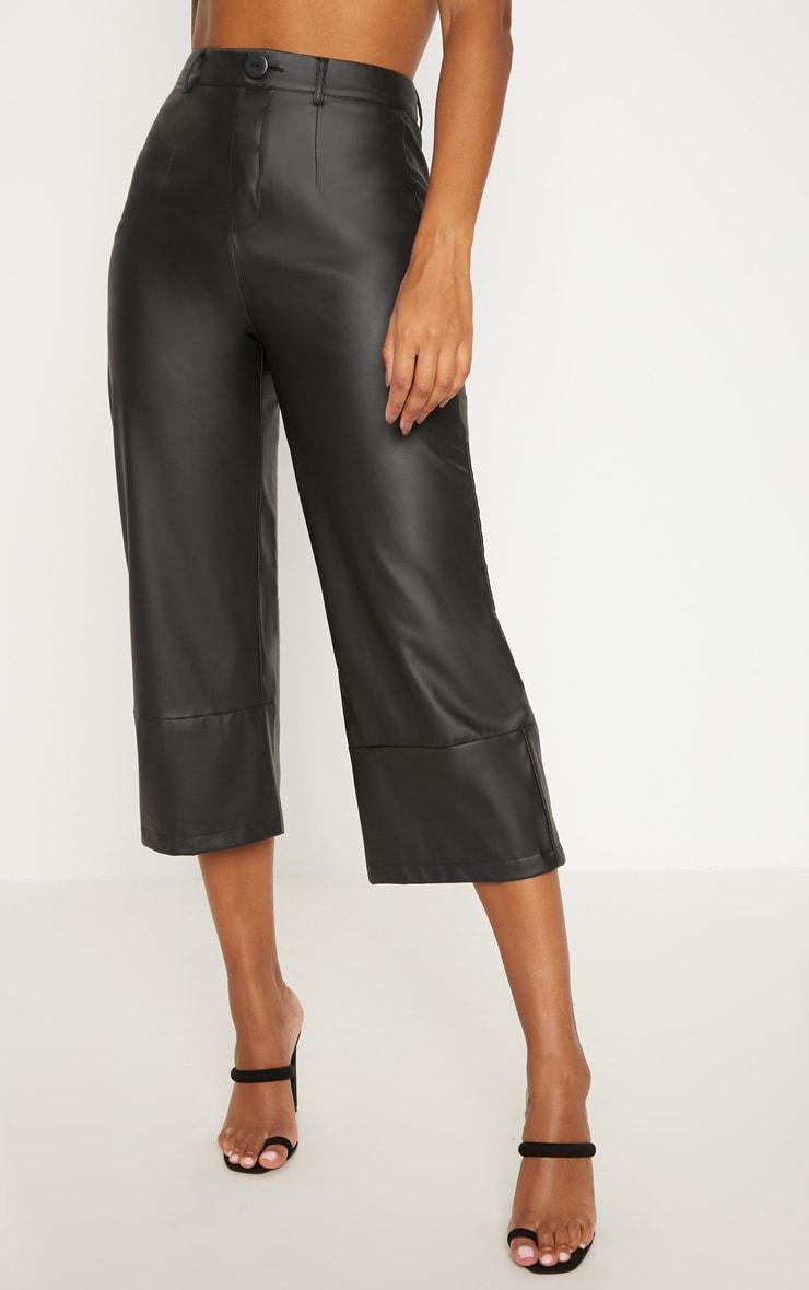 Black Faux Leather Culotte 2