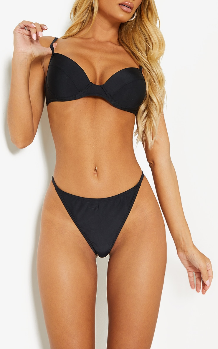 Black Mix & Match Recycled Fabric String Thong Bikini Bottoms