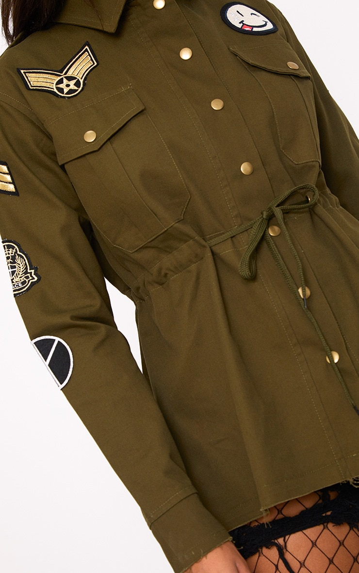 Khaki Badge Detail Utility Jacket 6