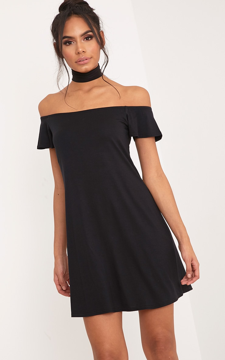 Manina Black Jersey Bardot Shift Dress 1