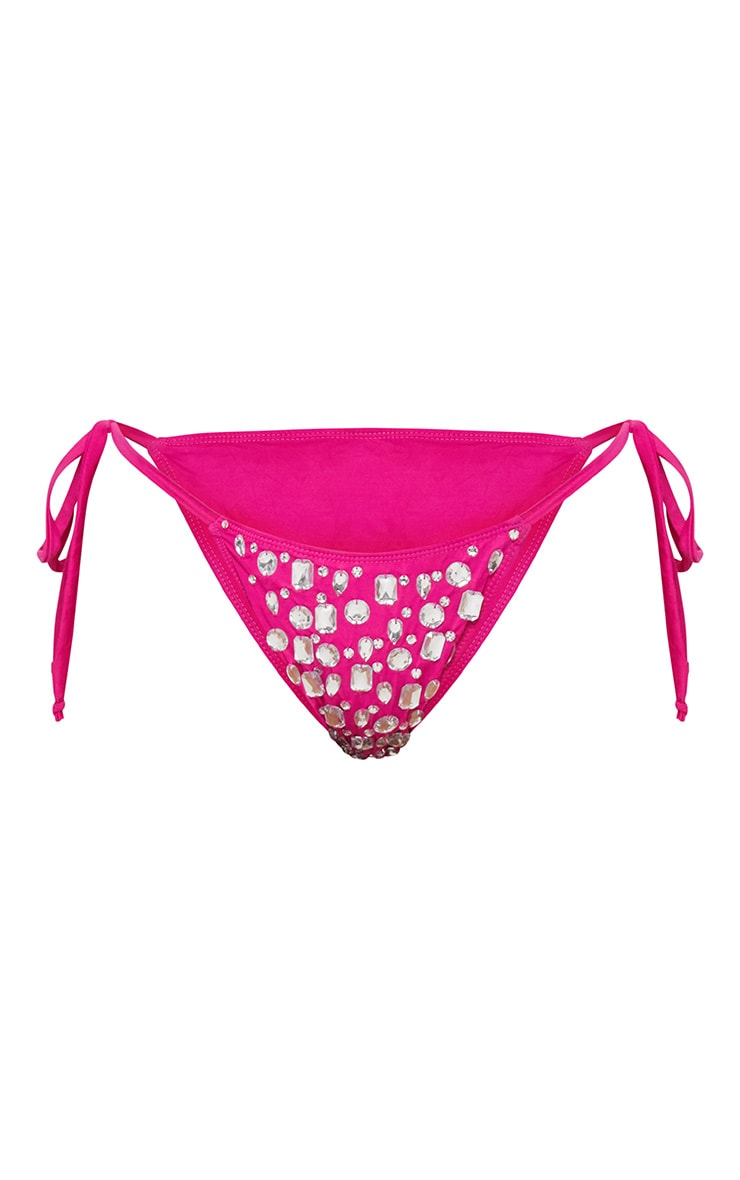 Premium - Bas de maillot rose flashy à pierres fantaisie 4