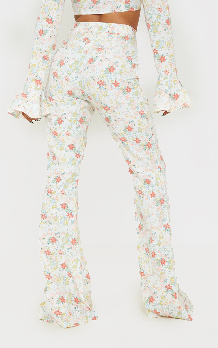 Light Pink Floral Printed Woven High Waisted Flared Trousers 3