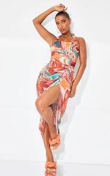 Multi Marble Mesh Halterneck Corset Detail Gathered Skirt Midaxi Dress 1