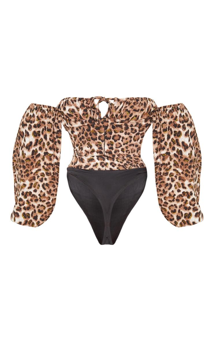 Tan Glitter Leopard Printed Hook & Eye Bardot Long Sleeve Bodysuit 4