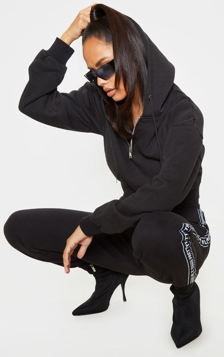 Black Zip Up Crop Hoodie 4
