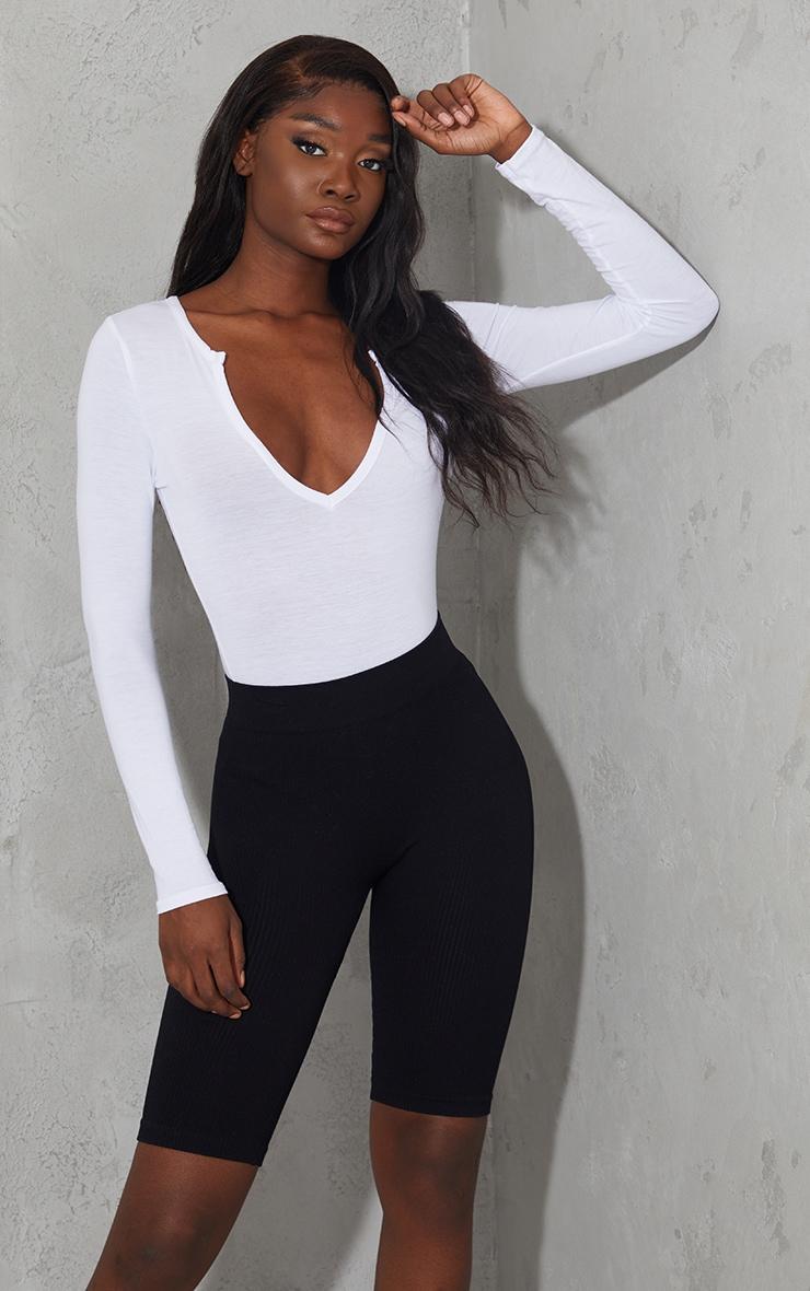 Tall White Basic Plunge Long Sleeve Bodysuit 1