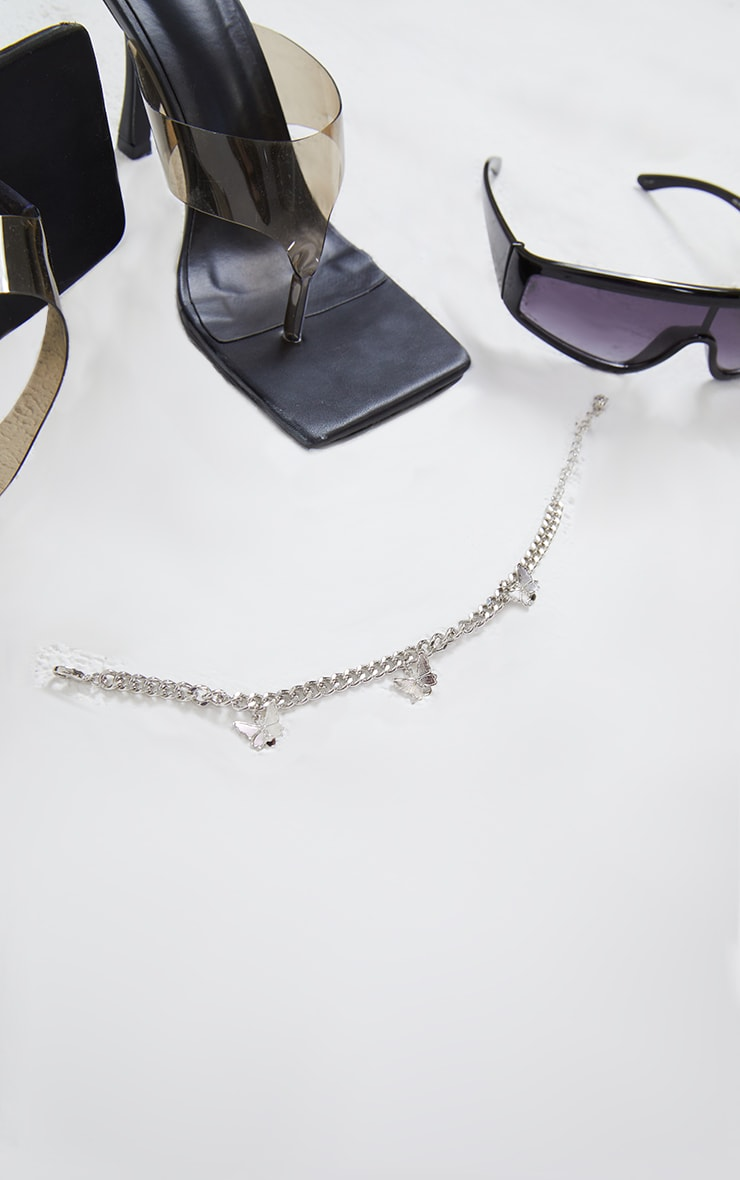 Silver Dainty Chain Multi Butterfly Anklet 2