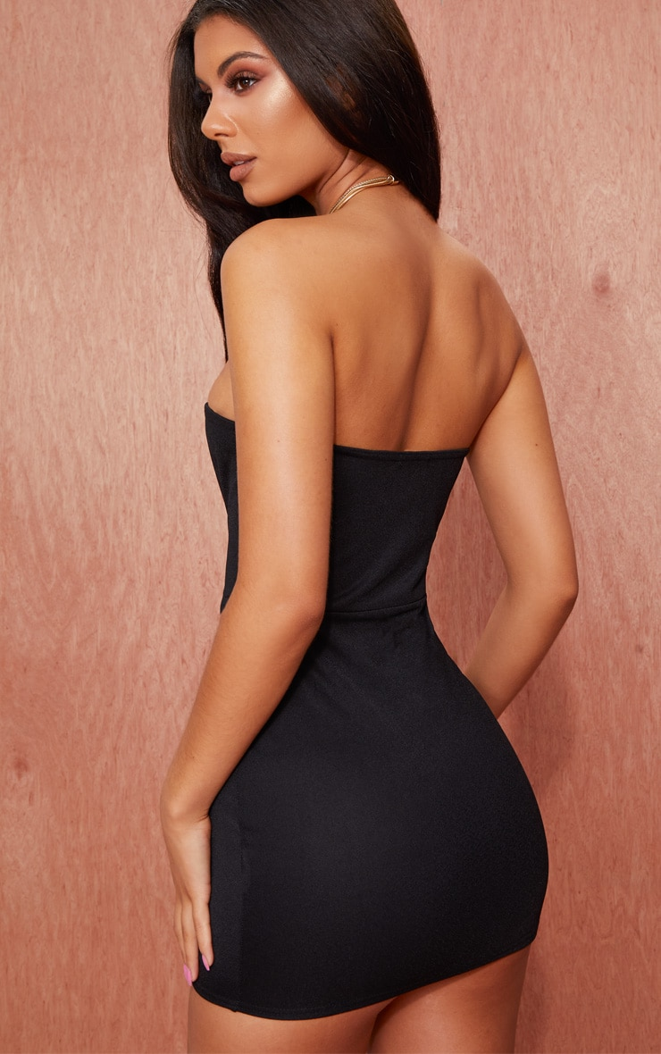 Black Bandeau Pointy Hem Bodycon Dress 2