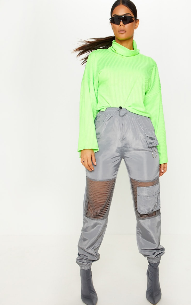 Neon Lime Rib High Neck Flare Sleeve Top