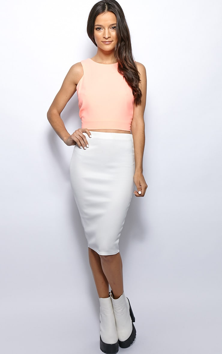 Addie Peach Cut Out Racer Back Crop Top 4