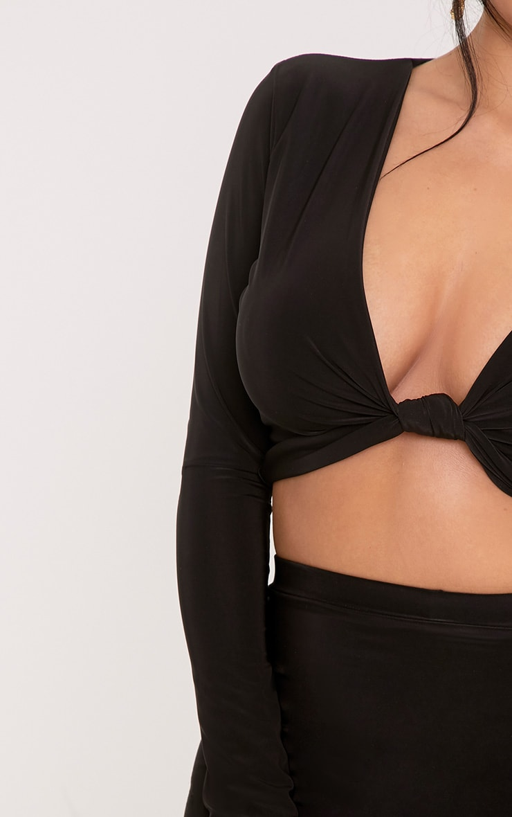 Shape Kareesha Black Plunge Knot Front Crop Top 5