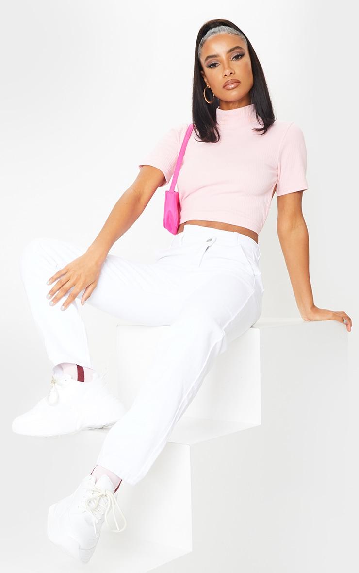 White Asymmetric Waistband Jeans 1