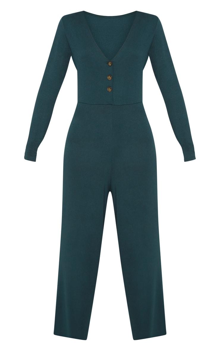 Emerald Green Tortoise Shell Button Jumpsuit 3
