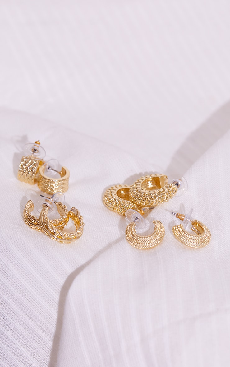 Gold Chunky Hammered 4 Pack Hoop Earrings 1