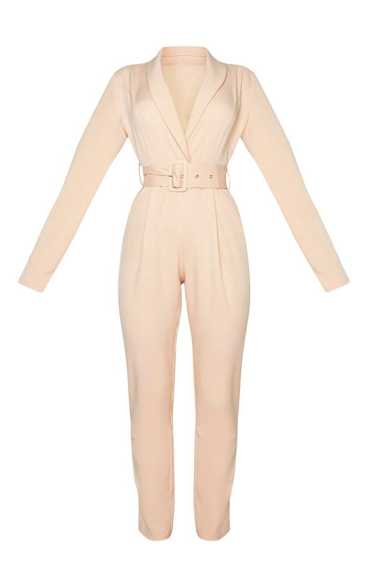 Nude Lapel Detail Belted Jumpsuit 3
