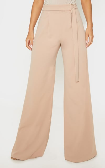 Camel D Ring Belted Wide Leg Trouser