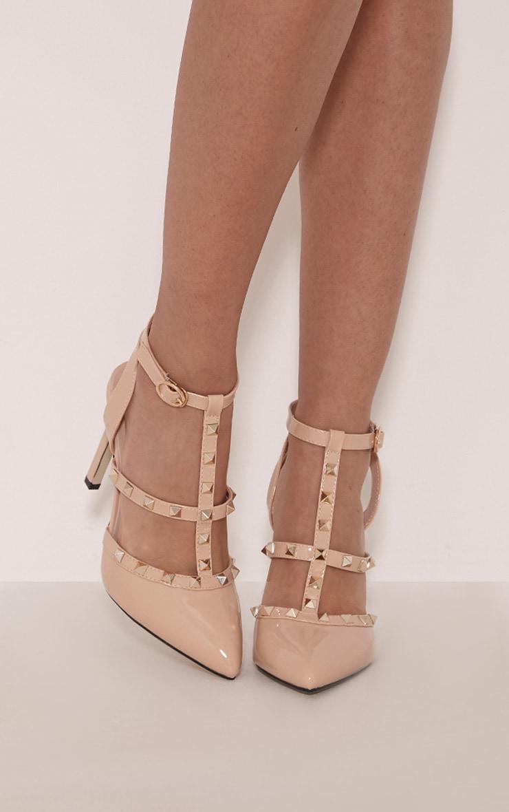 Eloisa Nude Patent Pointed Studded Heels 1