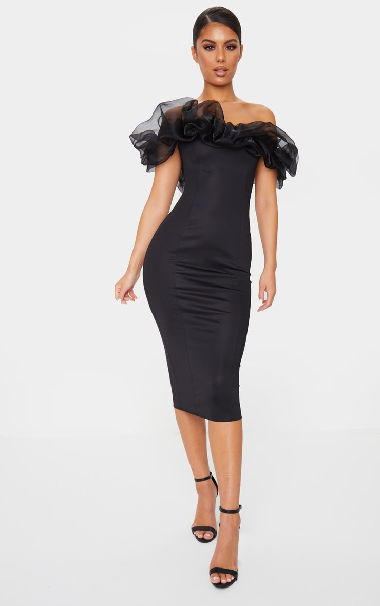 Black Organza Ruffle Bardot Midi Dress 1