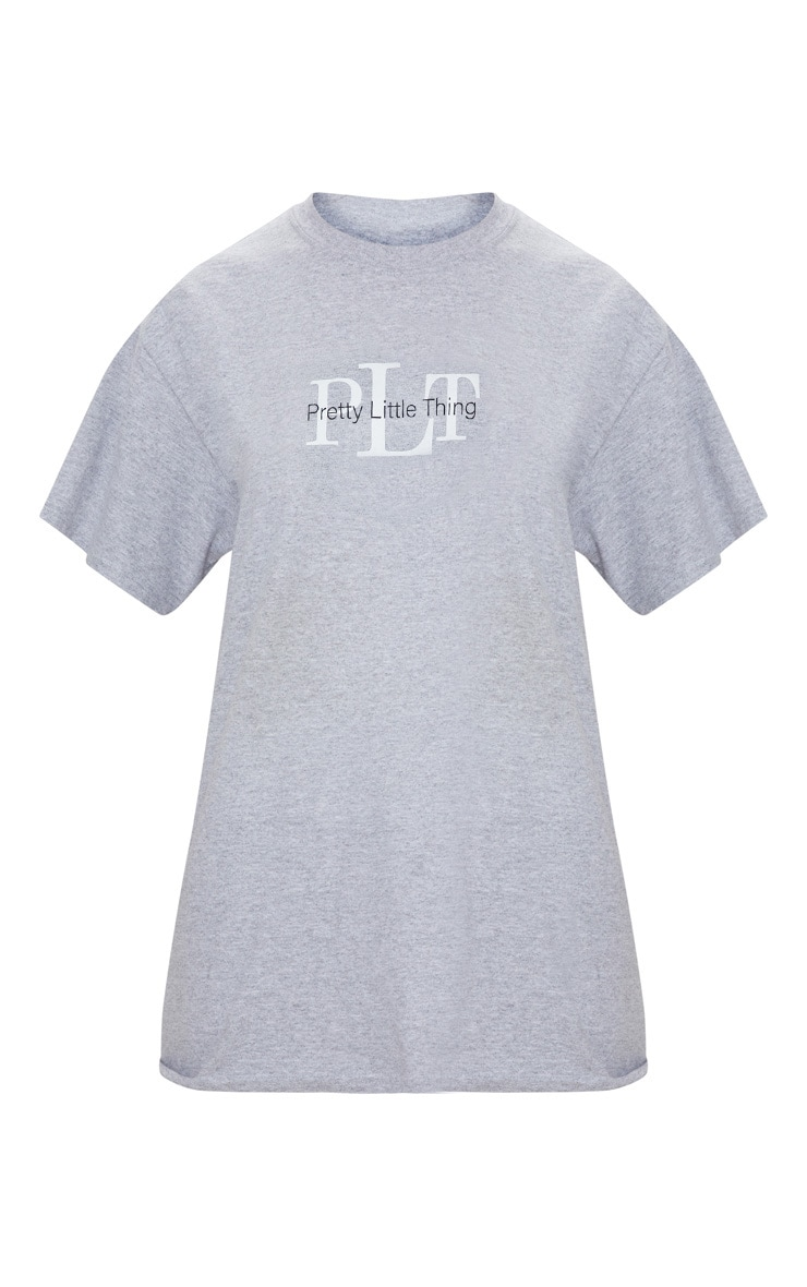 PRETTYLITTLETHING Grey Oversized Slogan T Shirt 3