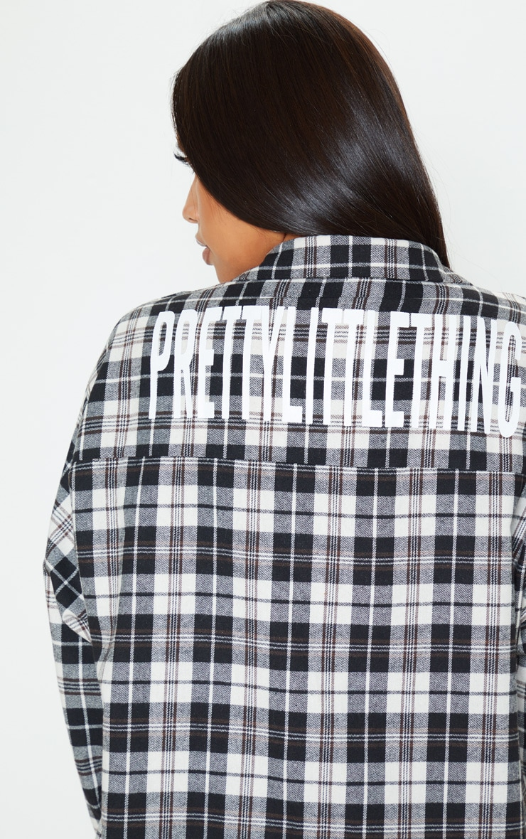 PRETTYLITTLETHING Black Slogan Checked Shirt Dress 6