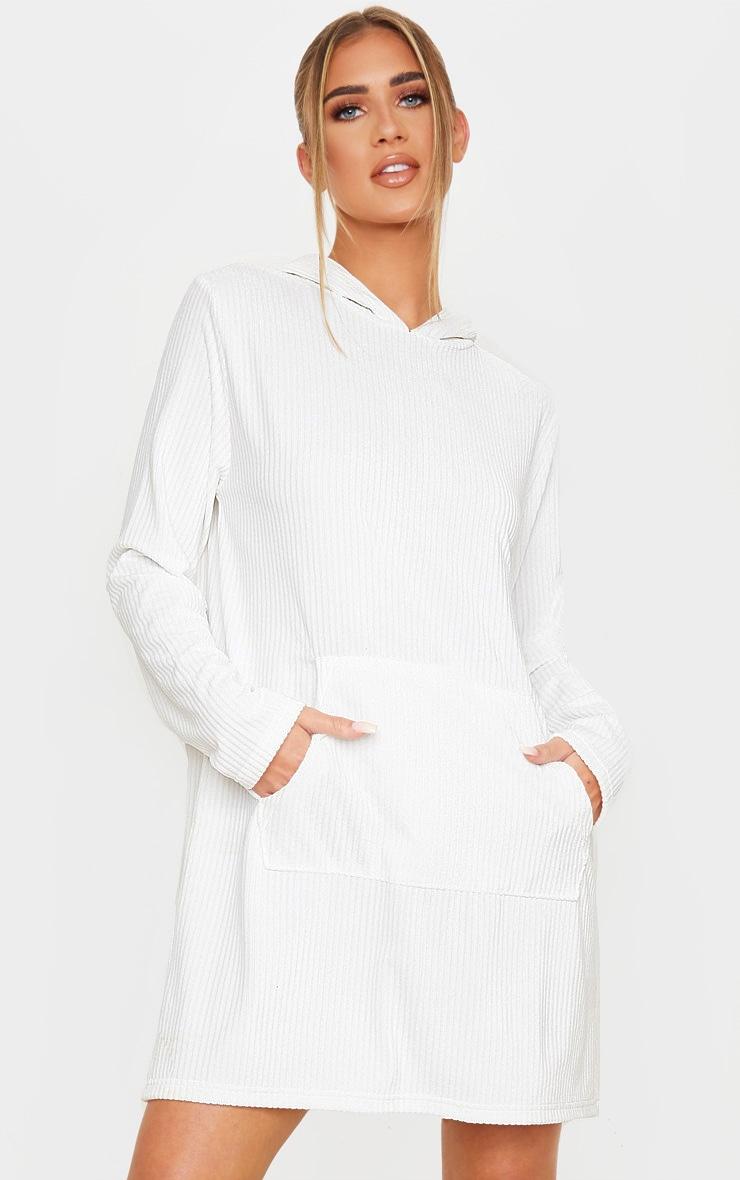 White Soft Rib Oversized Long Sleeve Hoodie Jumper Dress 1