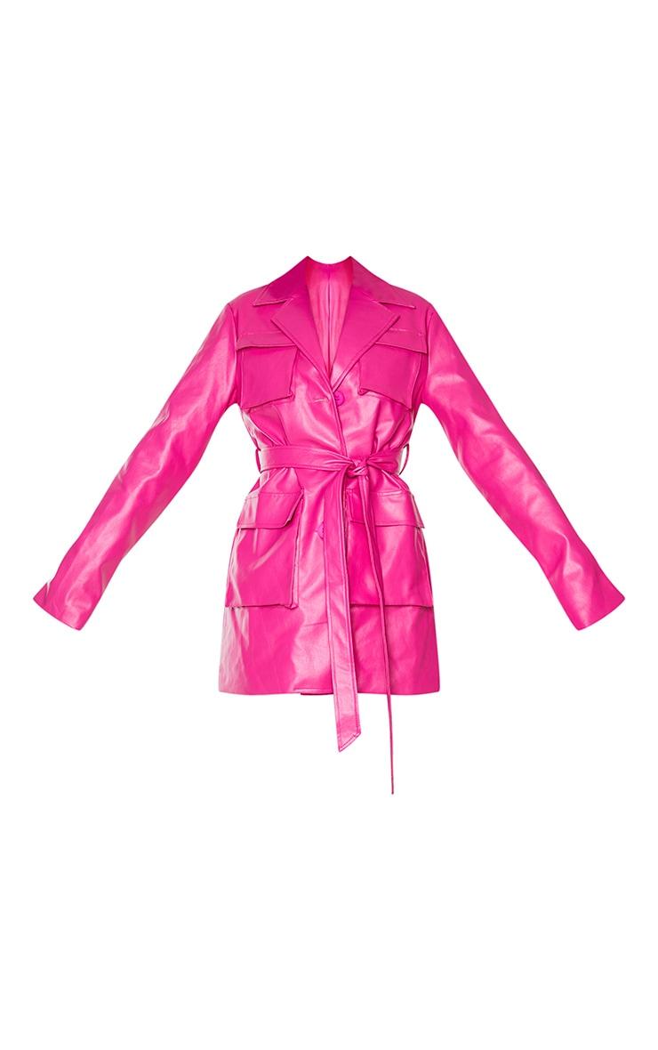 Hot Pink PU Longline Pocket Front Jacket 5