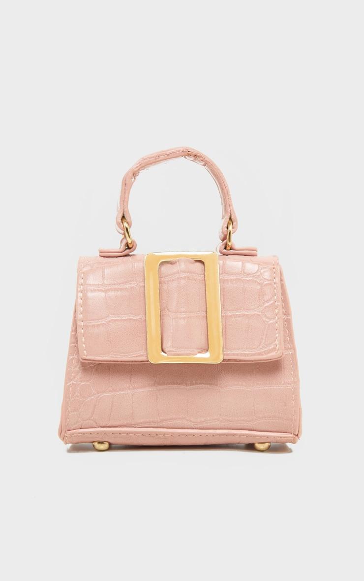 Pink Croc Rectangle Buckle Mini Bag 1