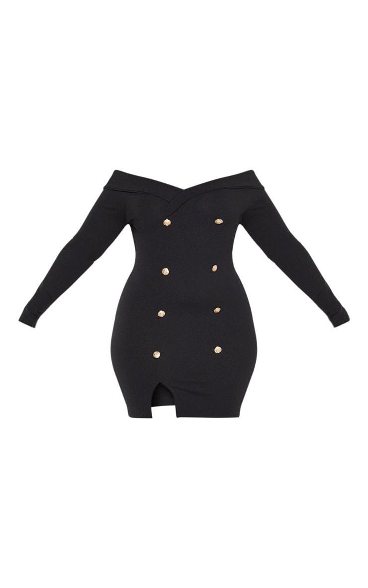 Plus Black Bardot Gold Button Blazer Dress 3