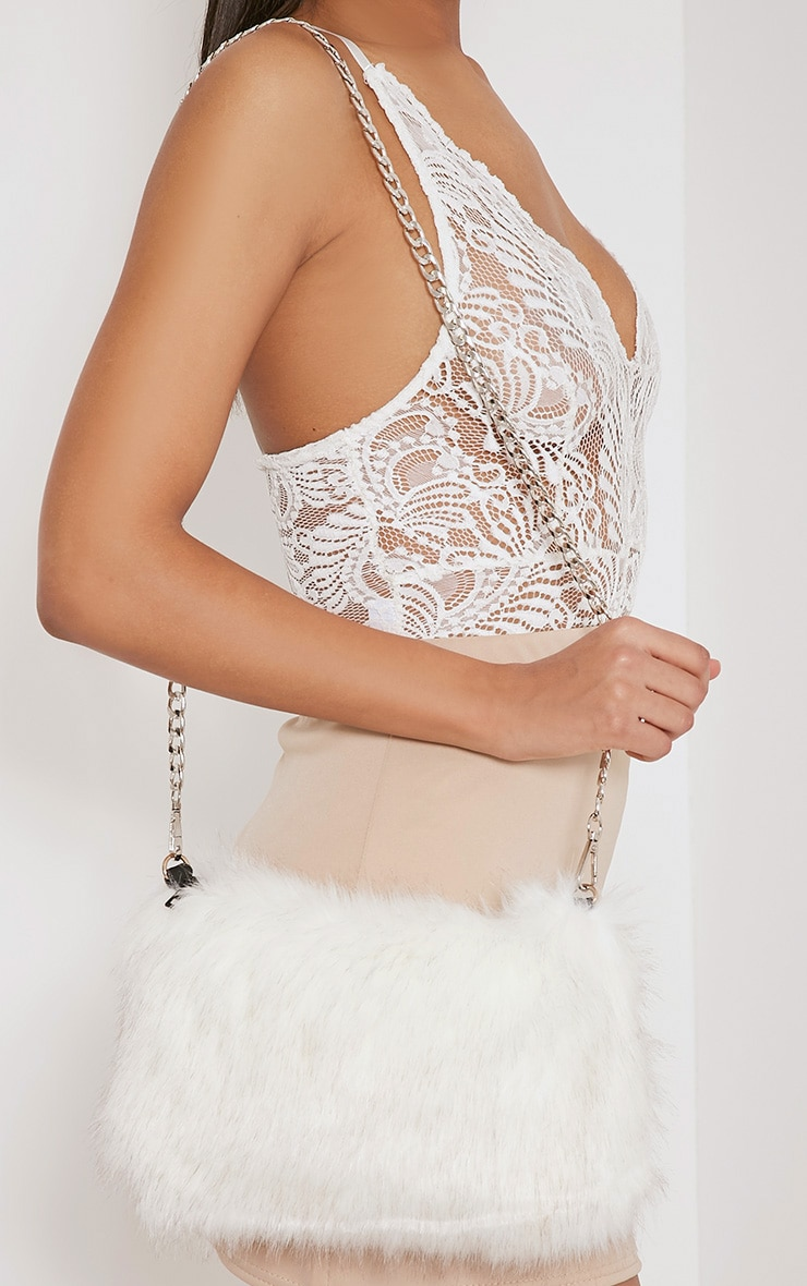Christah White Faux Fur Chain Shoulder Bag