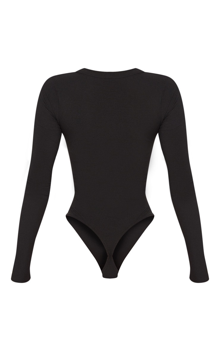 Black Long Sleeve Button Detail Bodysuit 4