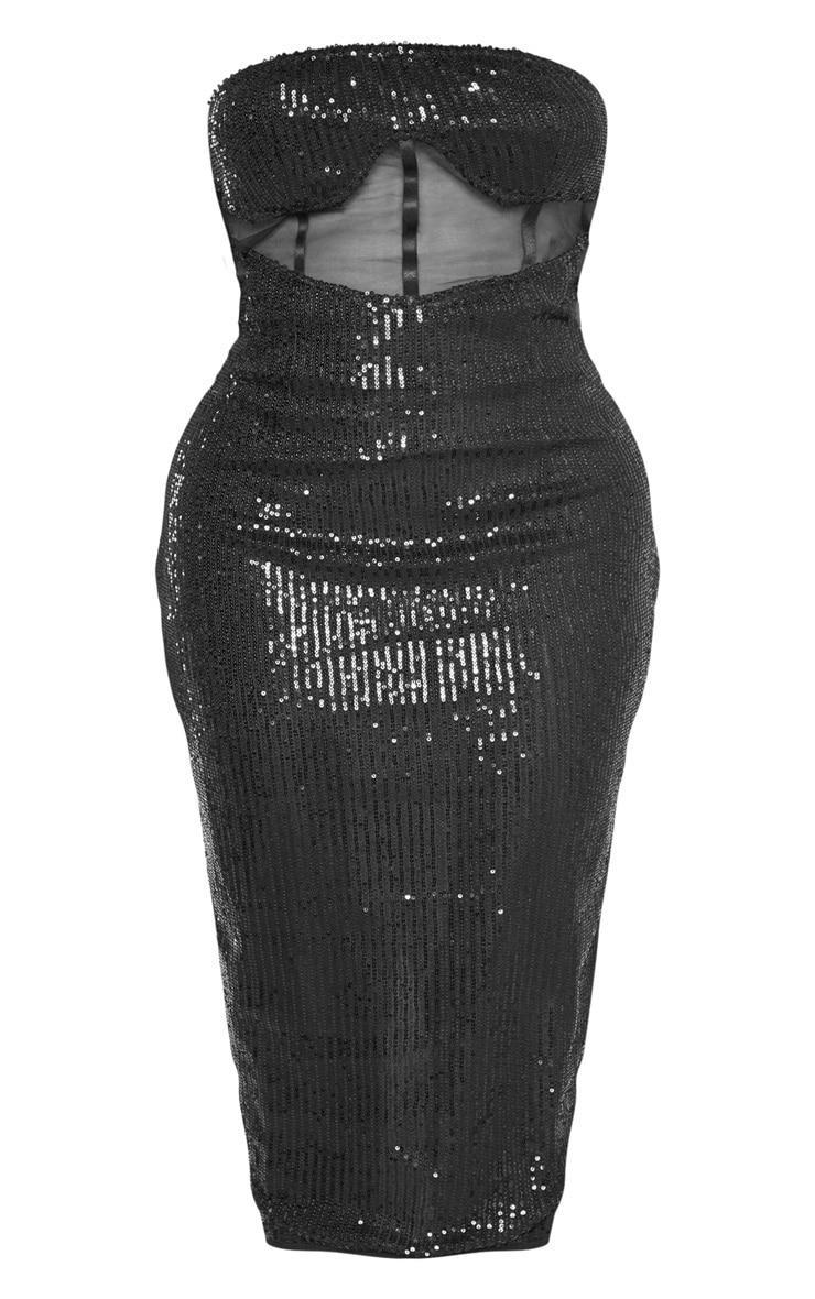 Shape Black Sequin Mesh Corset Detail Midi Dress 3