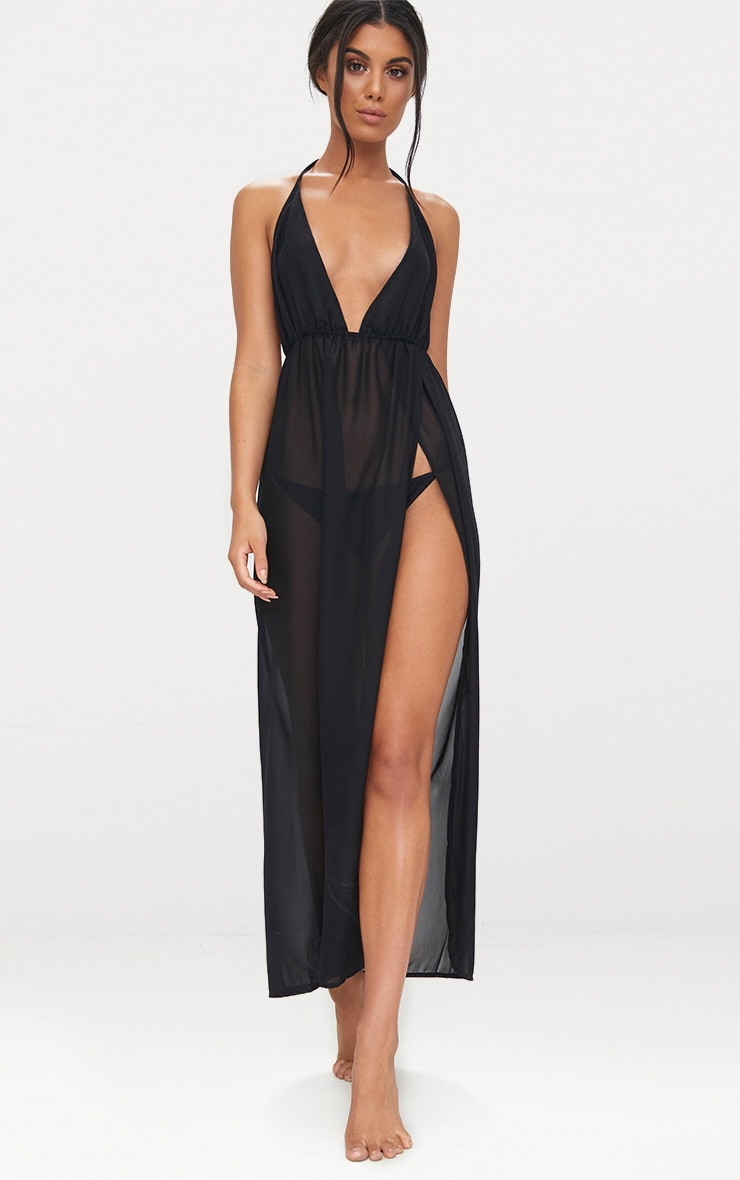 Black Chiffon Side Split Wrap Tie Maxi Dress