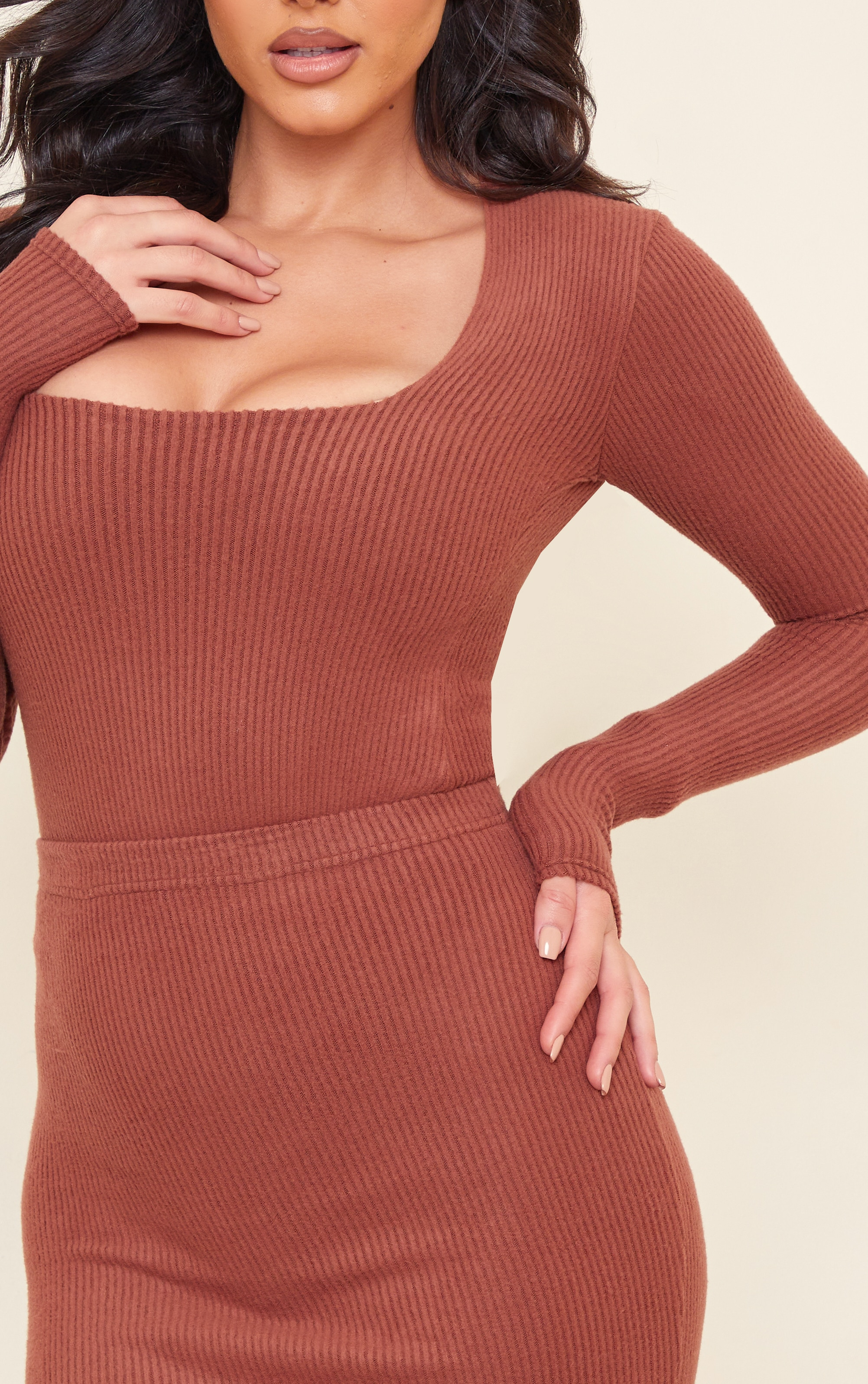 Tall Chocolate Brushed Rib Long Sleeve Square Neck Bodysuit 4