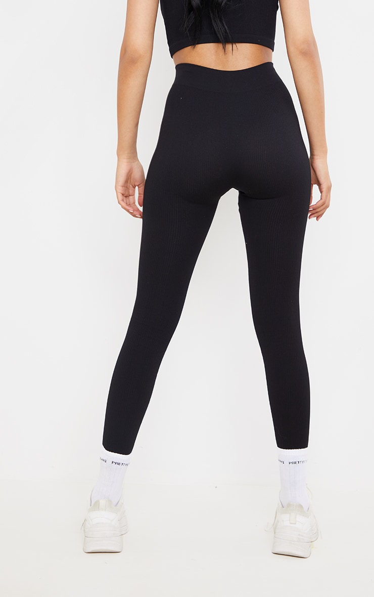 Tall  Black Structured Contour Ribbed Leggings 3