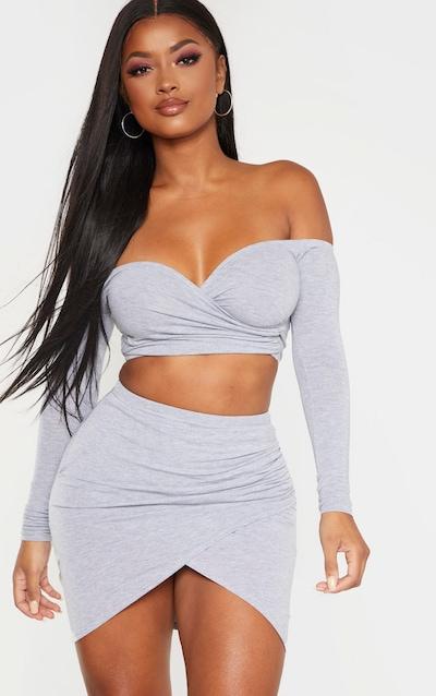Shape Grey Marl Jersey Ruched Bardot Crop Top